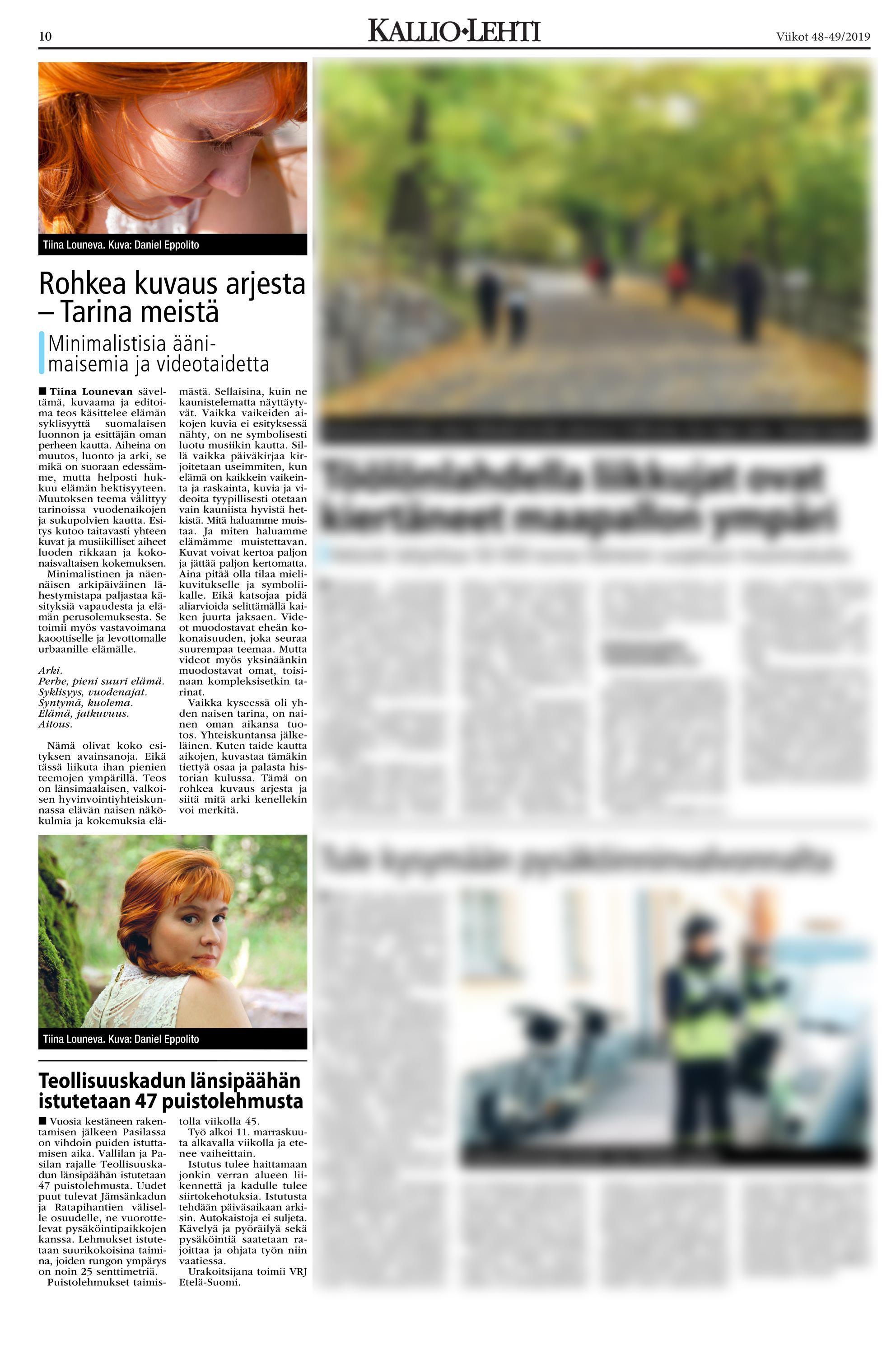 Tarina meistä lehtiartikkeli Kallio-lehti